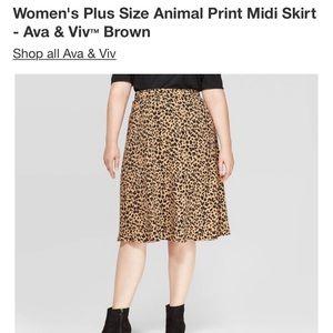 Midi animal print skirt
